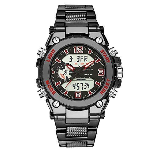 Herrenuhren,Mode Herren Dual-Core Wasserdicht Timing Alarm Edelstahl Uhr Gules