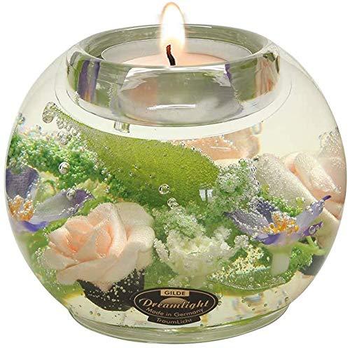 Dreamlight Moderner Teelichthalter Windlichthalter aus Glas mit Rosen Durchmesser 9 cm *Exklusive Handarbeit aus Deutschland*