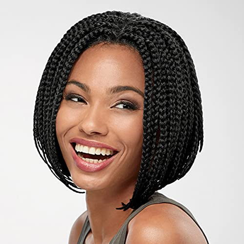 Ria Lace-Front Wig by Especially Yours – Intricate Hand-Braided Wig with Trendy Bob Cut, Celebrity No-Show Hairline / Runway Shade of Black