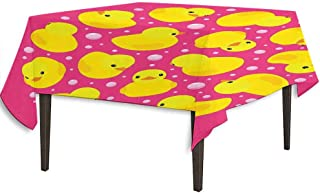 kangkaishi Rubber Duck Waterproof Anti-Wrinkle no Pollution Fun Baby Duckies Circle Artsy Pattern Kids Bath Toys Bubbles Animal Print Outdoor Picnic W54.3 x L54.3 Inch Pink and Yellow