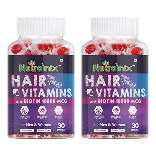 Nutrainix Hair Vitamins Gummy with Biotin 10000mcg - 60 Veg Gummies