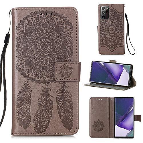 WANTONG Funda de Piel for Samsung Galaxy Note20 Ultra Dream Catcher Funda de Cuero Horizontal Flip de la impresión con Soporte y Ranuras for Tarjetas y Billetera y cordón (Color : Grey)