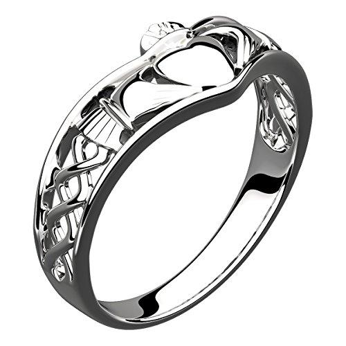GWG Jewellery Anelli Donna Regalo Anello Argento Sterling Fascia Lavorazione Traforata Claddagh e Nodo Celtico - 7 per Donne