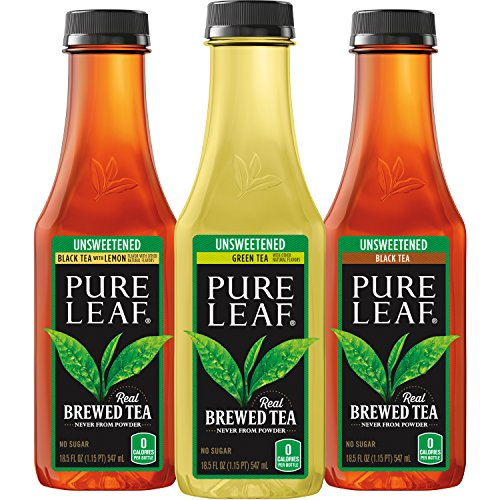 Pure Leaf Iced Tea, Unsweetened Variety Pack, Real Brewed Tea, 0 Calories, 18.5 Ounce Bottles (Pack of 12)