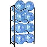 Enrack Water Cooler Jug Rack, 4-Tier Heavy Duty Carbon Steel Water Bottle Holder for 8 Bottles, 3-Gallon or 5-Gallon Water Jug Storage Organizer for Kitchen, Restaurant, and Office. Black