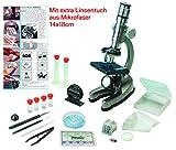 EDU-TOYS Mikroskop Zoom 100x – 900x im Handkoffer Lernmikroskop mit extra Mikrofaser Linsenpflegetuch