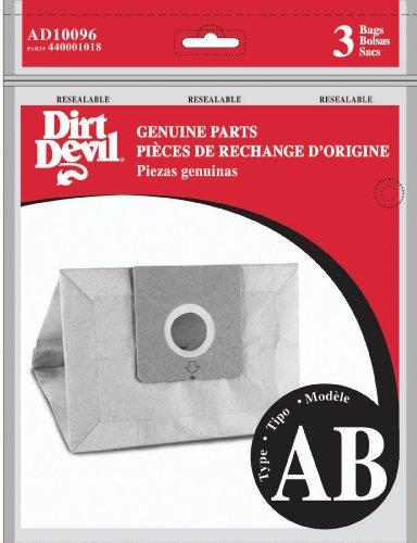 Dirt Devil AD10096 Bolsa de repuesto tipo AB para aspiradoras canister, color Café, Pequeño, pack...