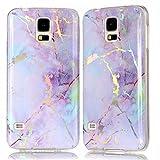 DAMONDY Galaxy S5 Case, 3D Shiny Marble Glitter Ultra Thin Slim Back Skin Full Body Protective Soft TPU Rubber Bumper Case Phone Cover for Galaxy S5 / Galaxy SV/Galaxy S V-Pink Purple