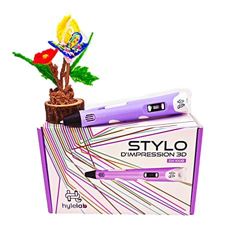 HyleLab Penna 3D viola idea regalo per adulti, ragazzi e bambini, hobby creativi in famiglia, efficacia 3D resa professionale, velocità e temperatura regolabili, per filamenti a soffitto/abs 1.75