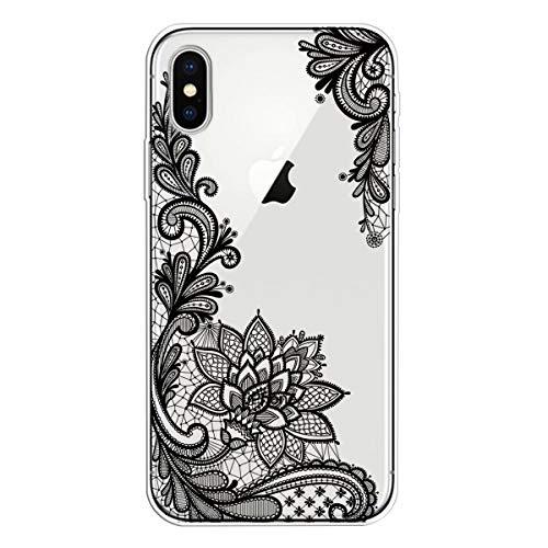 Miagon Transparent Hülle für iPhone XR,Schwarz Blume Muster Kreativ Süße Durchsichtig Klar Soft Ultra Dünn Silikon Case Cover Schutzabdeckung