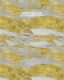Notebook: Gold White Marble Vein 8 x10 Blank Lined 160 Page Softcover Journal, College Ruled Composition Notebook