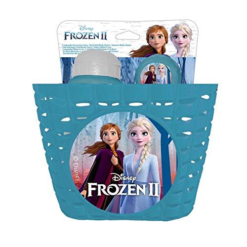 Disney Frozen II, Set Cestino/Borraccia 380 ml/Campanello Metallo-Accessori per Bicicletta Bambino, Azzurro, Universale