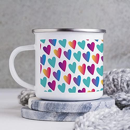 Emaille-Tasse, 284 ml, lustige Kaffeetasse, Design Clip Art Farbe Pfirsichherz, Neuheit Kaffeetasse, Kaffeetasse, Tasse, Tasse, für Valentinstag/Geburtstag