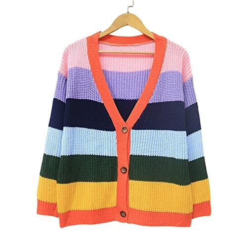 Mfacl Sudaderas para Mujer - Cardigan de Mujer Grande suéter Contraste Raya Costura Tres Botones Casuales Sueltos (Color : Orange, Size : One Size)