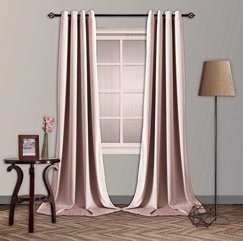 SNITIE Pink Velvet Blackout Curtains with Grommet, Super Soft Thermal Insualted Noise Reducing Thick Velvet Drapes for Living Room and Bedroom, Set of 2 Panels, 52 x 108 Inch Long