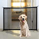 Magic Gate for Dogs, Portable Folding Stair Gate Safe Guard Isolation Net with 2CM Extension Strap Safety Gate Install Anywhere for Dogs Cats-110x72CM