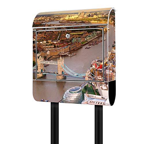 Banjado Design Briefkasten mit Motiv London | Stahl pulverbeschichtet mit Zeitungsrolle | Größe 39x47x14cm, 2 Schlüssel, A4 Einwurf, inkl. Montagematerial