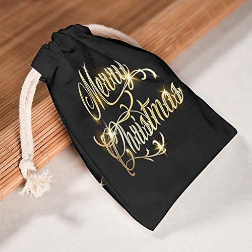 Lind88 6 x schwarze Beutel mit Kordelzug, wiederverwendbar, für Thanksgiving, Partygeschenke, glänzend auf schwarzem Themenaufdruck, weiß (Weiß) - Lind88-STB