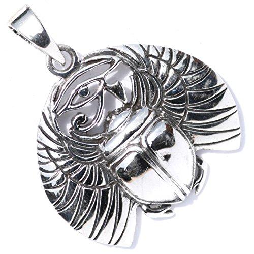 Amuleto colgante de plata de ley maciza con diseño de escarabajo alado egipcio y Ojo de Horus