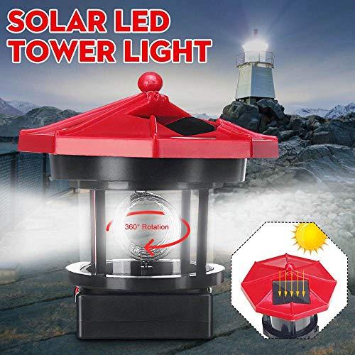 Luz de faro LED de energía solar con haz de luz giratorio Decoración de jardín en casa Lámpara de césped de cerca Luz de hadas