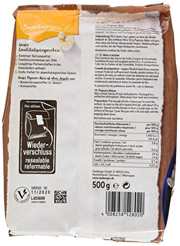 Seeberger Popcorn-Mais, 10er Pack (10x 500 g Packung) - 2