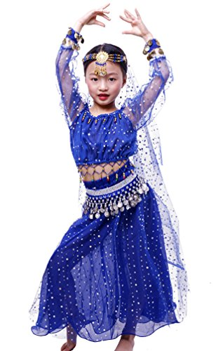 Astage Niñas Manga Larga De Danza Ropa Faldas Disfraz De Elegent Conjuntos Azul Real S