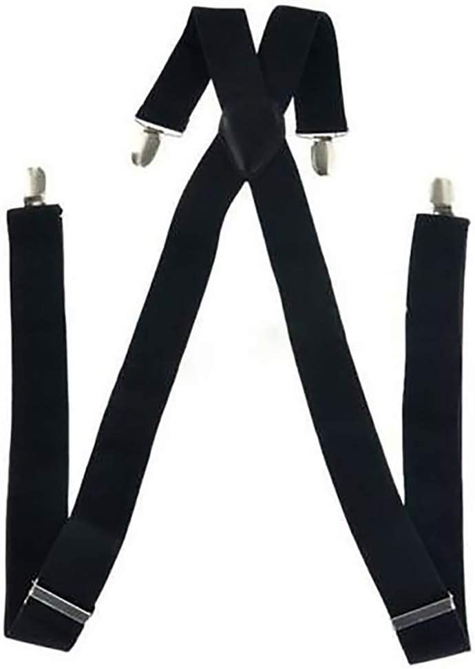Flybloom Elasticity Strap Unseix Four Clip Suspenders Trousers Wide Straps(Black)