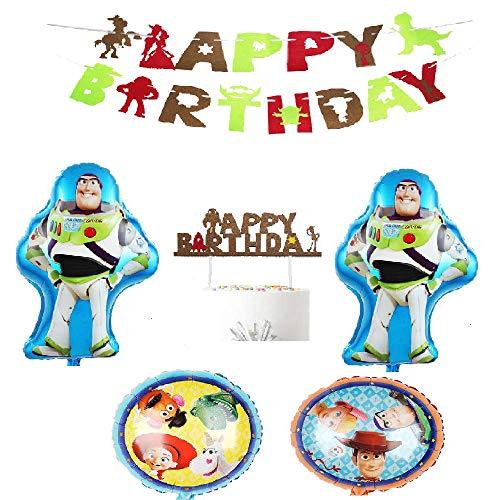 トイストーリー 誕生日 飾り付け パーティー セット ウッディ バズ・ライトイヤー 2 ディズニー 子供 可愛い 男の子 キャラクター 映画 アニメ 人形 happy birthday ガーランド 風船 バルーン ケーキトッパー 6枚セット