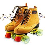 Pro Roller Skates/Suede Roller Skate, for Women & Man with Hight Adjustable Stoppers - Ideal for Rink, Artistic and Rythmic Skating