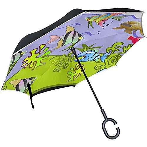 Alice Eva Inverted Umbrella Fishtank Cartoon Aquarium Wasserfisch Unterwasser Regenschirme Reverse Taschenschirm Big Straight Umbrella