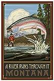 RTF a River Runs Through it Montana Giclee Art Print Poster from Original Travel Artwork by Artist Paul A. Lanquist 12' x 18'