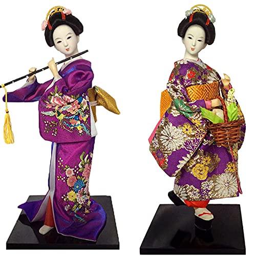 KJWXSGMM 12 '' / 31 cm Japonés Vintage Kimono Girls Geisha Doll Figurine Maiko Handcraft Figurine Home Desktop Decoration Regalos 2pcs,C