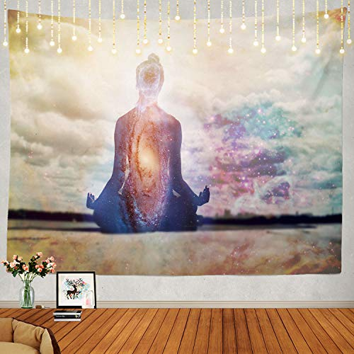Shrahala Meditation Tapestry, Buddha Zen Happiness Wall Hanging Large Tapestry Psychedelic Tapestry Decorations Bedroom Living Room Dorm(39.4 x 59.1 Inches, Blue Indian)
