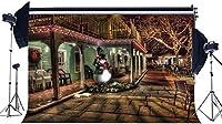 HDクリスマスストリートナイトビュー背景10x7ftビニールスノーマン背景花輪クローズレストラン写真メリークリスマスとハッピーHD年の休日の挨拶フォトスタジオの小道具の背景79