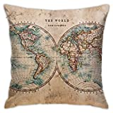 Old Stained World Map Decorative Throw Pillow Cover Zippered Cushion Case for Home Sofa Bedroom Car Chair House Party Indoor Outdoor 18' x 18'