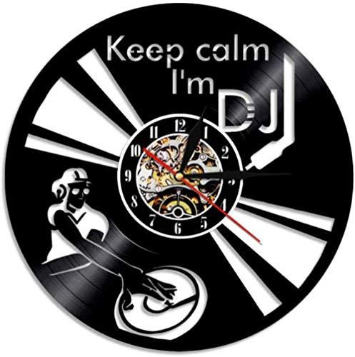 Lustiges Sprichwort Bleib ruhig Ich bin Dj Wandkunst Wanduhr Dj Mixer Spinning Vinyl Plattenspieler Plattenspieler Hip Hop Vinyl Plattenuhr 12inch