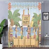 洗濯可 レースストライプ-ホワイト 2枚100x198cm レースカーテン 目隠し 仕切り ティキバーの装飾、ビーチのお祝いの伝統的な漫画スタイルのダンサーのハワイアンルアウパーティー装飾、多色