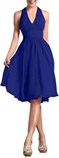 TalinaDress Women Short Halter Chiffon V Neck Bridesmaid Dress Prom Gown E200LF