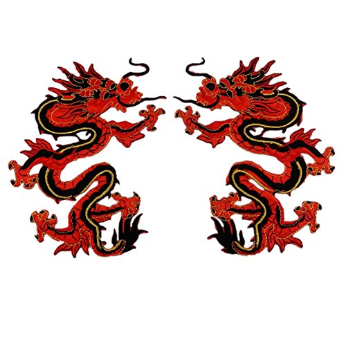 Ximkee 1 Pair Chinese Red Dragon Embroidery Appliques Sew Iron on Patches