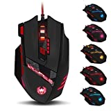 ZELOTES T90 Mouse da Gioco, ad Alta Precisione 9200 DPI Mouse Gaming con Design di 8 Pulsanti ,Cartucce di Peso Regolabile per PC Laptop Computer Notebook,Nero