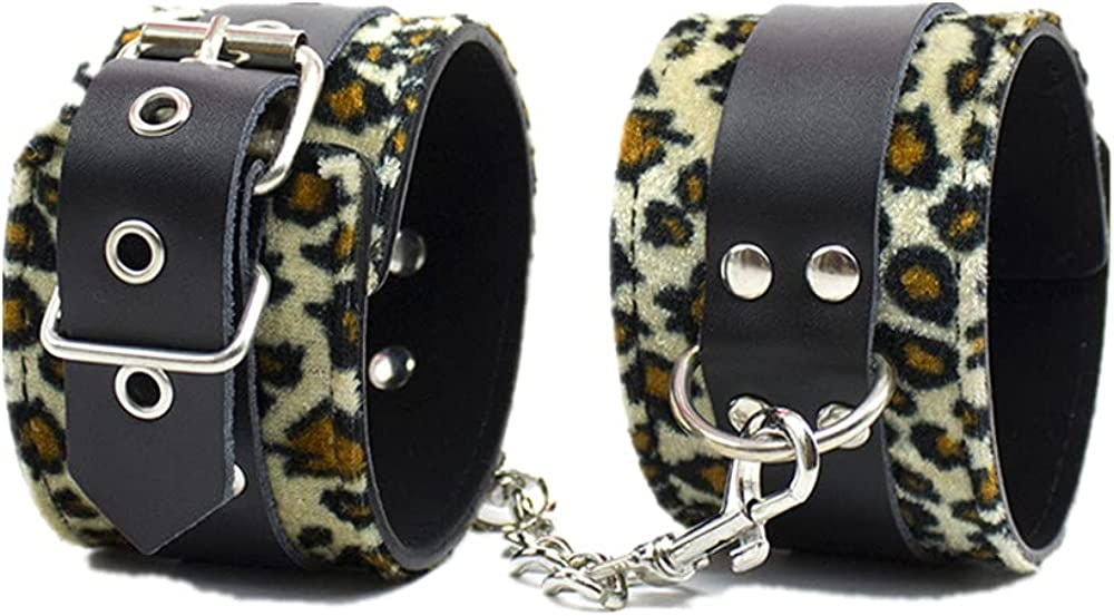 Leopard Print Leather Handcuffs Metal chain Adjustable Garment A