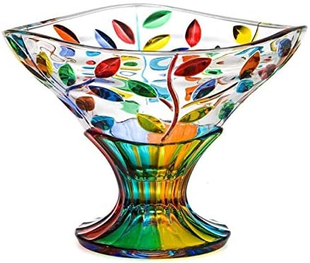 Free shipping Murano Glass Flowervine Pattern Compote Bowl Made - Ultra-Cheap Deals Hand And Pai