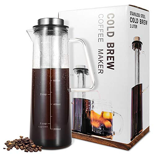 Cold Brew Iced Coffee Maker TOPMAX Iced Tea Maker 34 Oz Brewing Glass Carafe with Removable Stainless Steel Filter