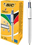 BIC 4 Colours Shine Penne A Sfera A Scatto Con Punta Media (1,0 mm) - Fusto Argento Metallizzato, Confezione Da 12
