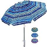 AMMSUN Beach Umbrella 6.5ft Umbrella with Sand Anchor & Tilt Aluminum Pole, UV 50+ Portable Beach Umbrella with Carry...