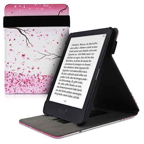 kwmobile Schutzhülle kompatibel mit Tolino Shine 3 - Hülle e-Reader mit Schlaufe Ständer - - Kirschblütenblätter Rosa Dunkelbraun Weiß