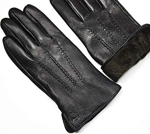 XIAOQIU Gloves Deerskin Gloves Men's Leather Fashion Wool Lining Winter Warmth Thick Fake Rabbit Fur Lining Outdoor Driving Mittens (Color : Dark Gray, Gloves Size : 11)