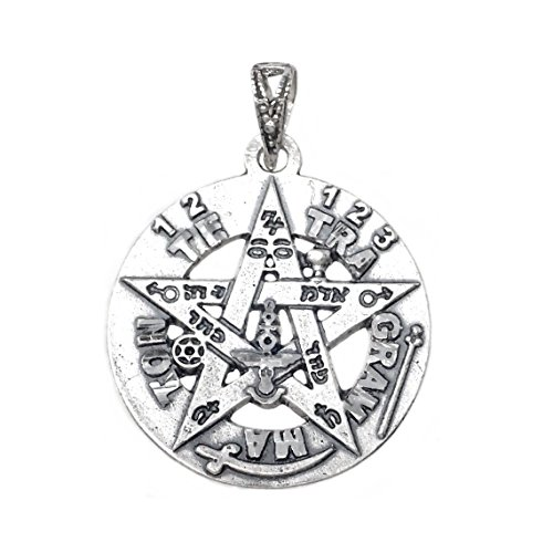 Colgante Plata Ley 925M Tetragramatón 21mm. Amuleto Estrella Protección Esotérico Parte Trasera Lisa