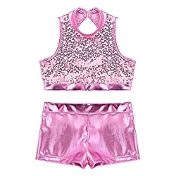 Cutout Back Pink 2-Piece Active Sequin Top and Booty Short