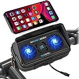 So Easy Rider 9 en 1 Soporte Móvil para Moto Bici Scooter con Cargador USB y Ventilador,Soporte Teléfono Motocicleta Bolsa Manillar Funda Impermeable para 4.3'-6.3' iPhone Galaxy Huawei